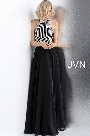 Black Silver Embellished Bodice High Neck Prom Dress JVN62472