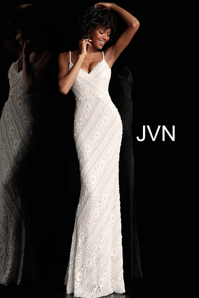 Ivory Fitted Spaghetti Straps Prom Dress JVN62488