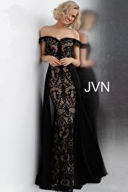 Jvn Black Nude Off the Shoulder Lace Prom Dress JVN62489