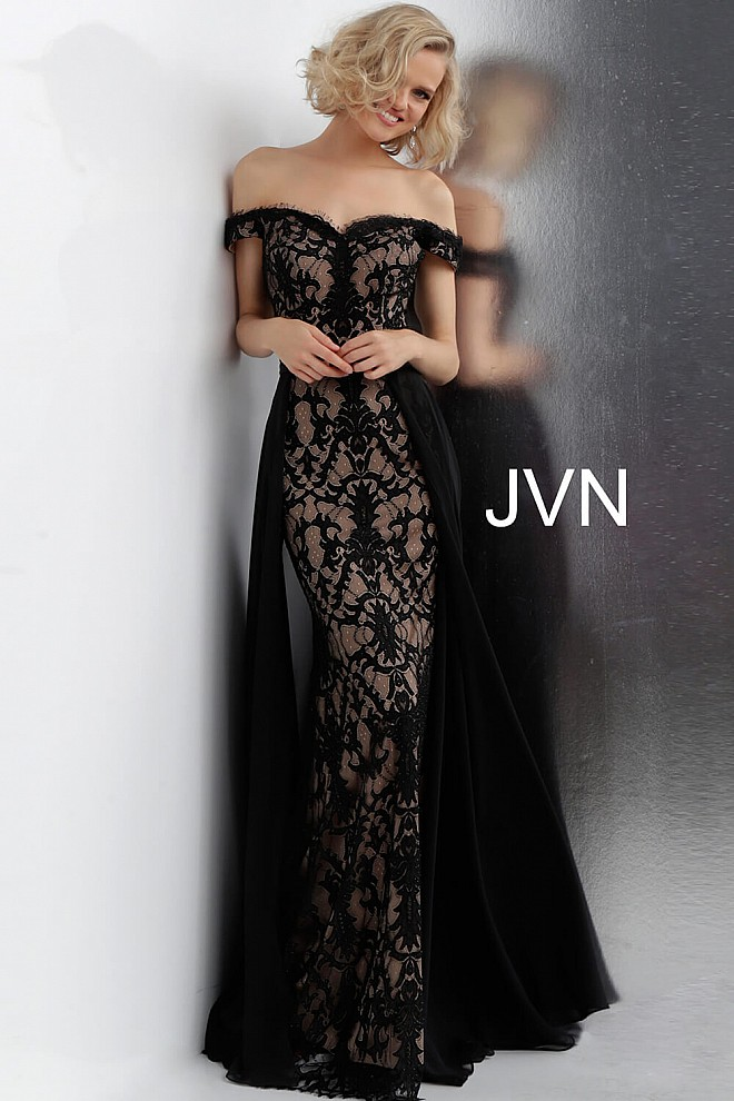 Black Nude Off the Shoulder Lace Prom Dress JVN62489