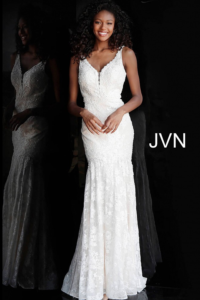 Ivory Lace Backless Fitted Prom Dress JVN62490