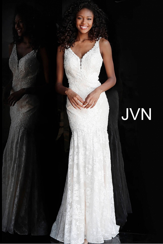 JVN62490 Ivory Lace Backless Fitted Prom Dress