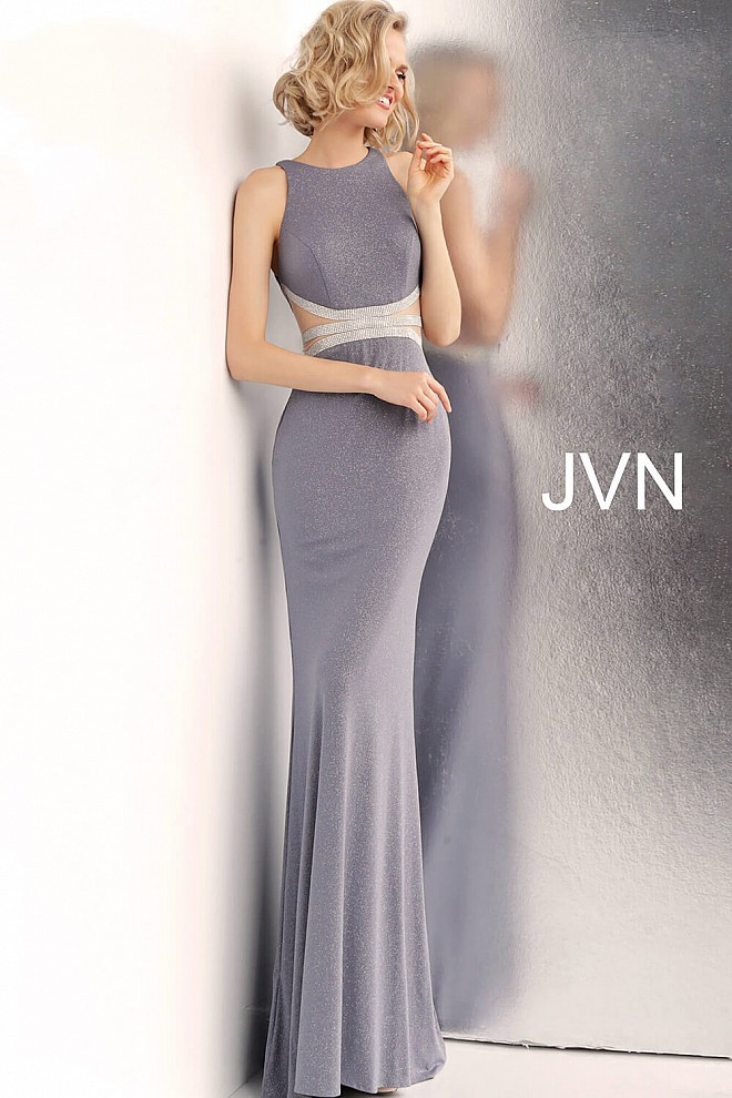 Grey Embellished Waist High Neck Prom Dress JVN62495