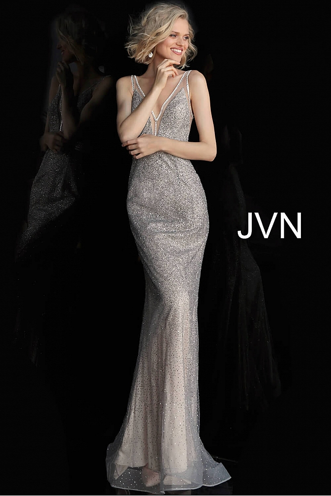 JVN62500 Silver Nude Fitted V Neck Sleeveless Prom Dress