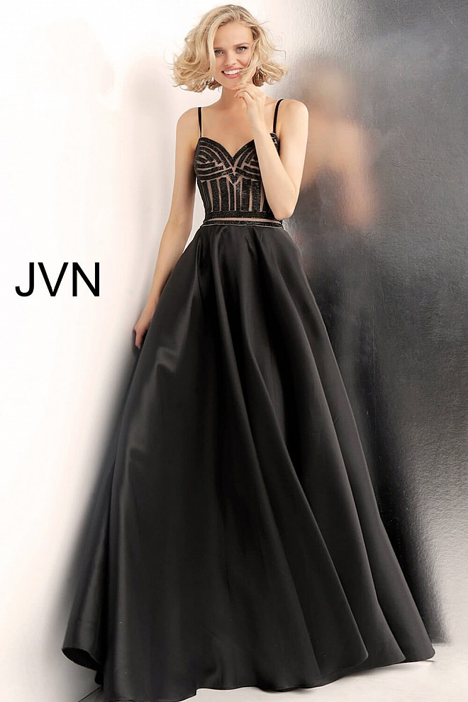 Black Nude Beaded Bodice Prom Gown with Pockets JVN62510
