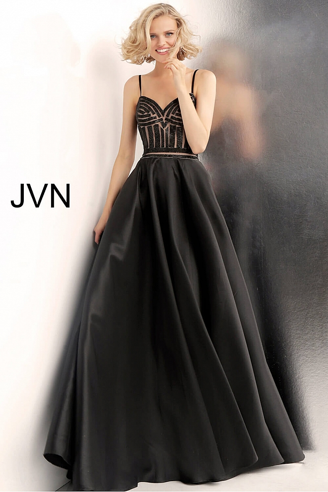 JVN62510 Black Beaded Bodice Prom Gown