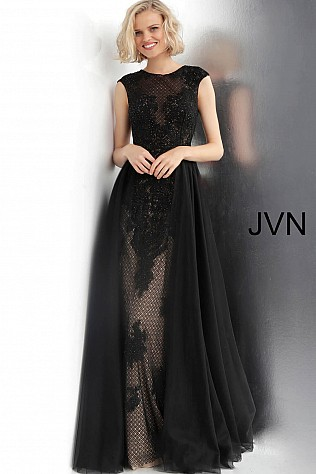 03e3a753e3 Black and Nude Lace Off-the-Shoulder Sheer Over-Skirt Prom Dress