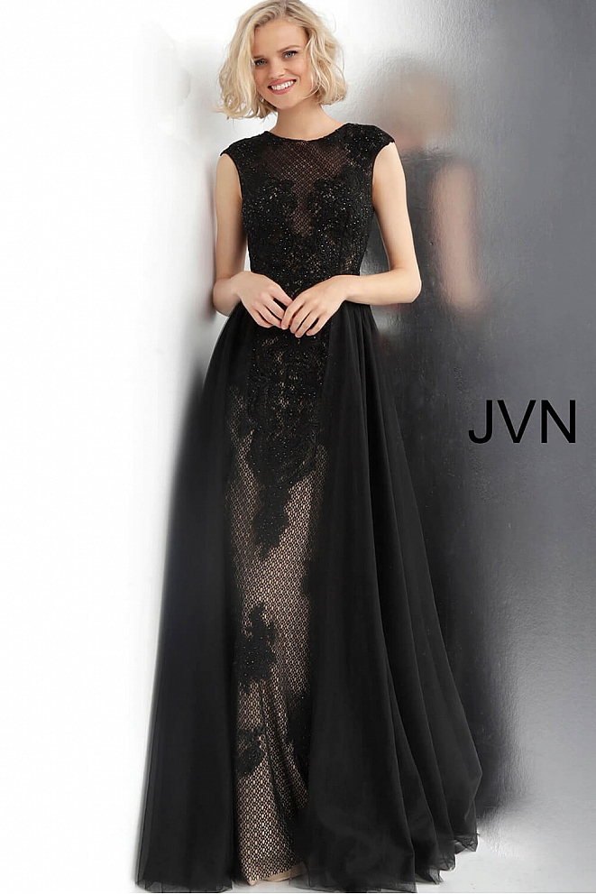 JVN62550 Black Embroidered Lace Cap Sleeve Dress
