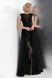 Black Embroidered Lace Cap Sleeve Prom Dress JVN62550
