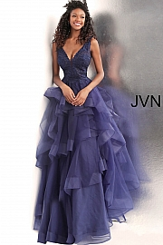 Navy Embroidered Bodice Backless Prom Ballgown JVN62554