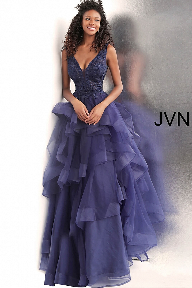 JVN62554 Navy Embroidered Bodice Backless Ballgown