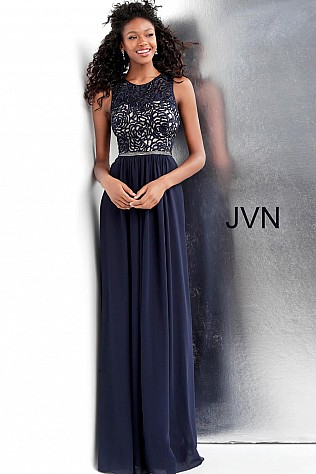 Navy Sleeveless Crew Neck Prom Dress JVN62561