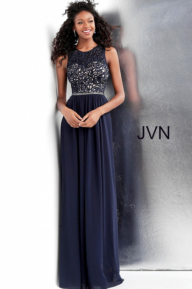 3b9dd3b2ae8 Navy Crew Neck Illusion Sweetheart Sleeveless Pleated Prom Dress