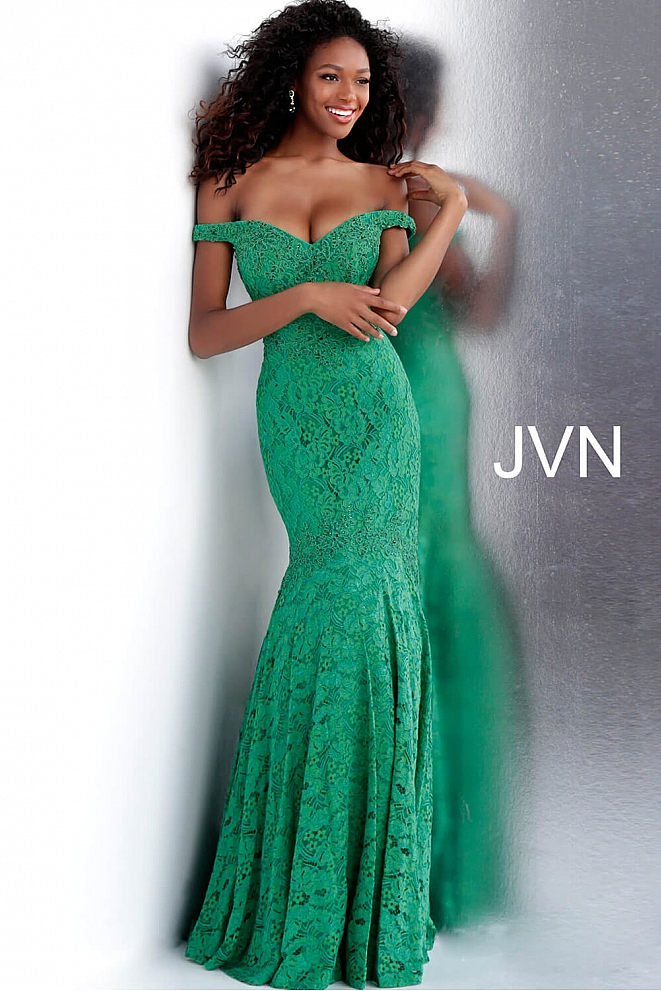 JVN62564 Green Off the Shoulder Mermaid Bridesmaid Dress 2020
