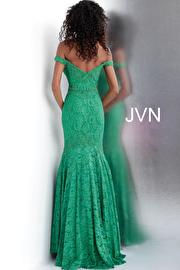 Red Embellished Off the Shoulder Lace Prom Dress JVN62564