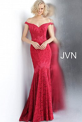 JVN62564 Red Embellished Off the Shoulder Lace Prom Dress