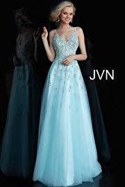 Jvn Light Blue Spaghetti Straps Beaded Bodice Prom Ballgown JVN62576
