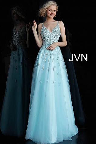 Light Blue Spaghetti Straps Beaded Bodice Prom Ballgown JVN62576