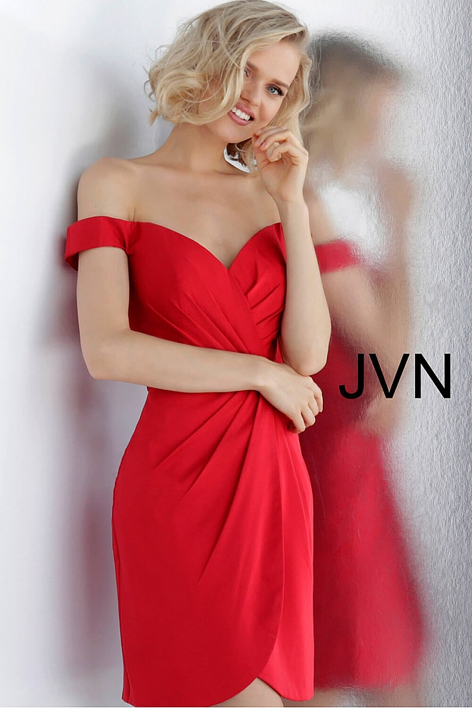 JVN62598 Red Off the Shoulder Pleated Short Dress
