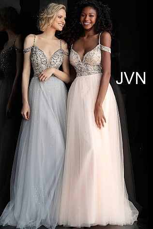 Off the Shoulder Embellished Bodice Tulle Prom Dress JVN62621