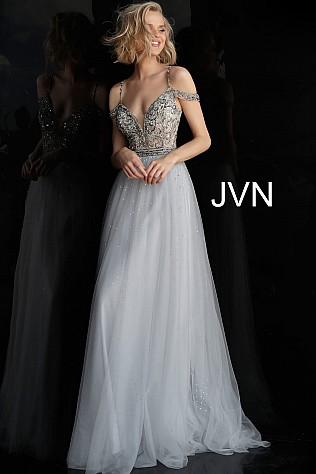 Silver off the shoulder Prom Ballgown JVN60473
