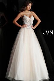 Jvn Champagne Sheer Bodice Spaghetti Straps Prom Ballgown JVN62622