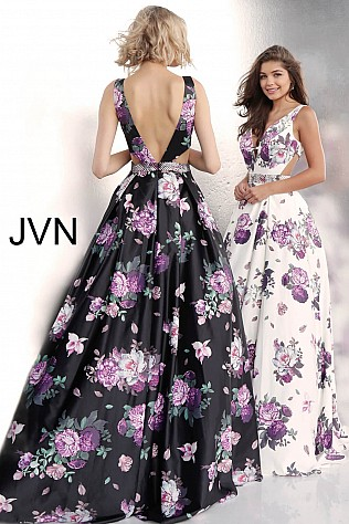 aa9bb0ba5d9 Floral Print Side Cut Outs V Neck Prom Ballgown JVN62624