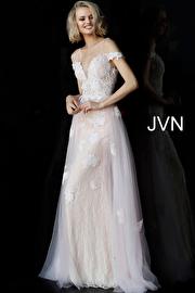 Pink Off the Shoulder Plunging Neckline Prom Dress JVN62628