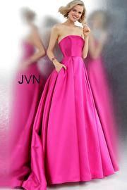 Fuchsia Strapless Pleated Skirt Prom Ballgown JVN62633
