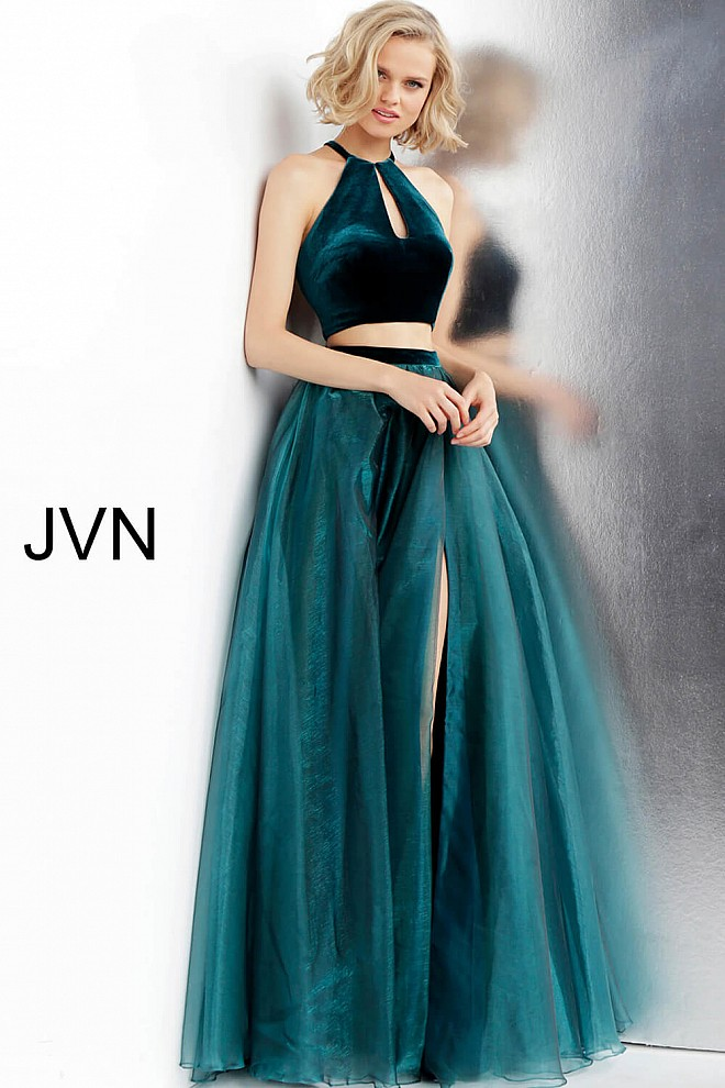 Green Two Piece Key Hole Neckline Prom Gown JVN62639