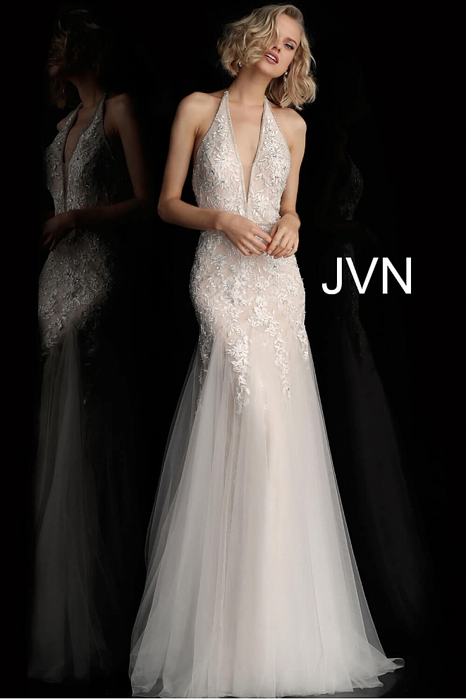 JVN62690 Ivory Halter V Neck Embellished Prom Dress