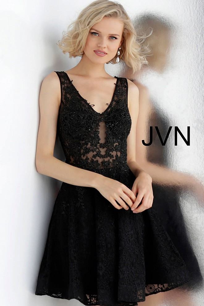 Black Embroidered Bodice Lace Cocktail Dress JVN62710