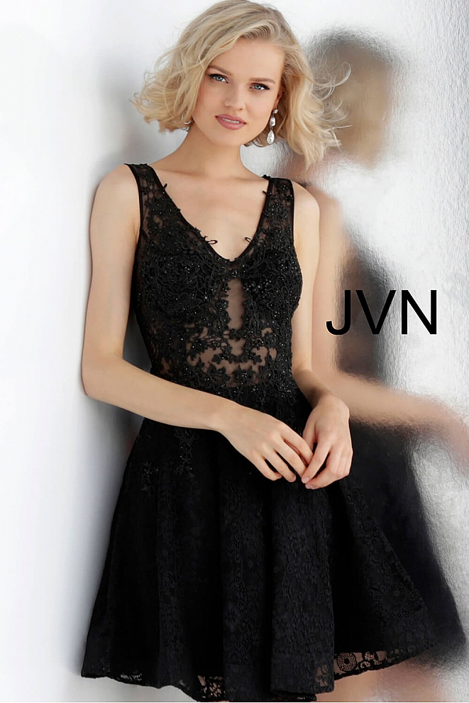 JVN62710 Black Embroidered Bodice Lace Cocktail Dress