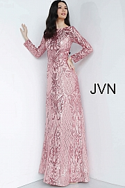 Silver Long Sleeve Embellished Prom Gown JVN62711