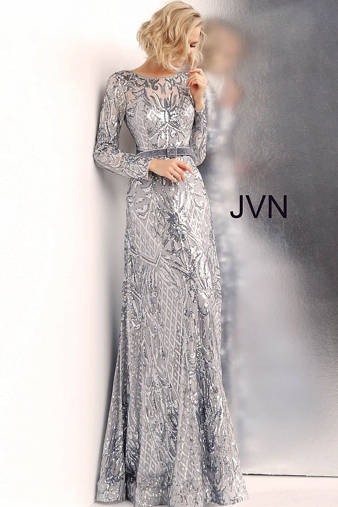 b789226462c7 Silver Sequin Jewel Neck Long Sleeve Fitted Prom Gown