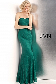 Jvn Emerald Strapless Sweetheart Neck Lace Prom Dress JVN62712