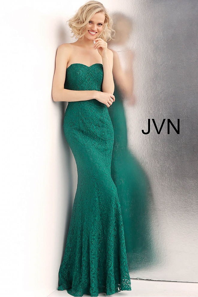 JVN62712 Emerald Strapless Lace Prom Dress