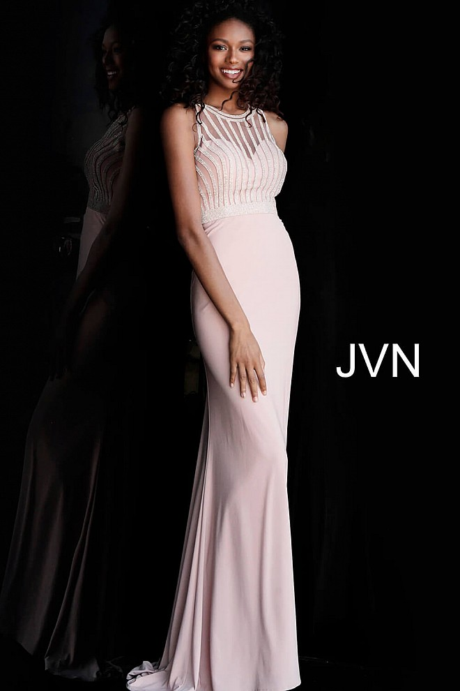 Blush Beaded Bodice Fitted Jersey Prom Dress JVN62722
