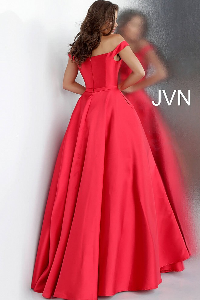46175285304 Red Off the Shoulder Prom Ballgown with Pockets JVN62743