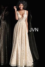 Jvn Gold Embellished Plunging Neckline A Line Prom Dress JVN62751