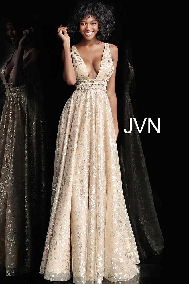 0cce74f4436 Jvn Gold Embellished Plunging Neckline A Line Prom Dress JVN62751 ...