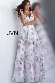 Jvn White Floral Print Embellished Belt Prom Ballgown JVN62791