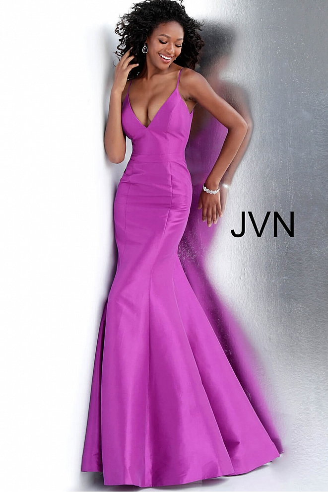 JVN62965 Purple V Neck Sleeveless Mermaid Prom Dress