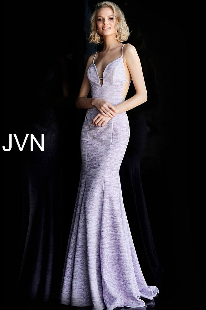 2862fb248628 Jvn Lilac Side Cut Outs Fitted Glitter Prom Dress JVN63178; lilac open back  ...