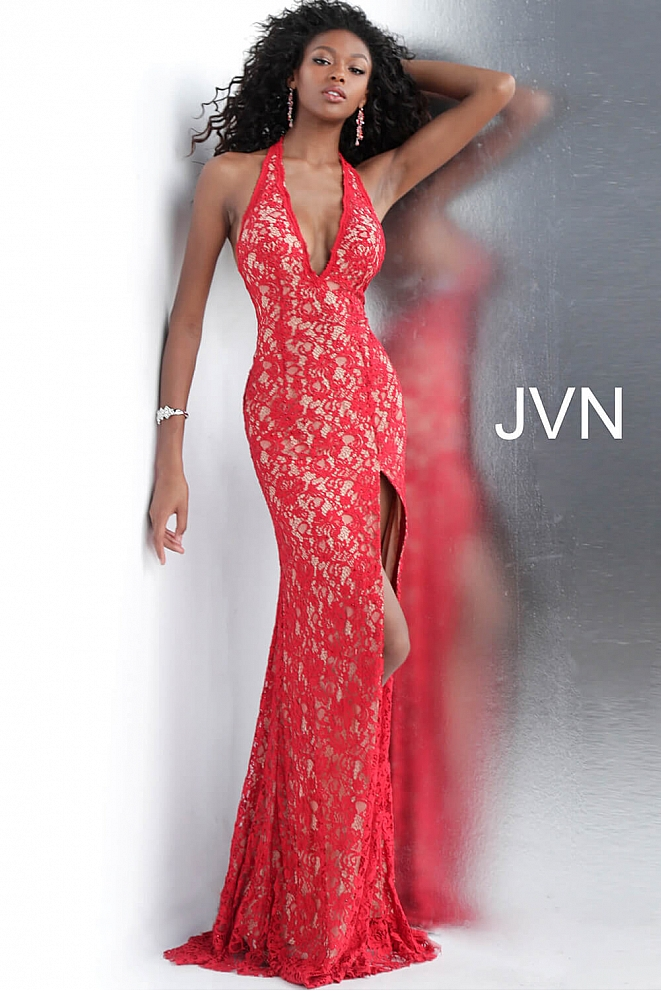 JVN63391 Red Halter Neck Fitted Lace Prom Dress