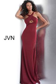 Jvn Burgundy Glitter Criss Cross Neckline Prom Dress JVN63539