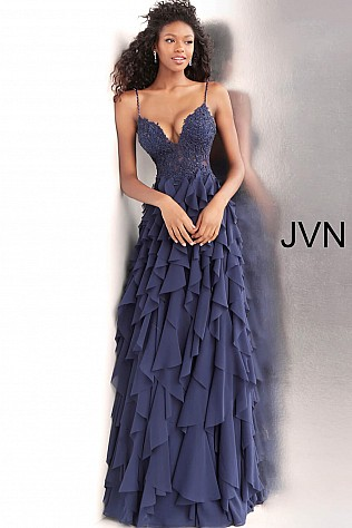 Navy Ruffle Skirt Spaghetti Straps Prom Dress JVN63544