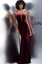 Jvn Burgundy Plunging Neckline Fitted Velvet Prom Dress JVN63568