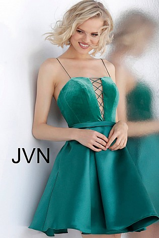 Teal Fit and Flare Velvet Bodice Homecoming Dress JVN63570