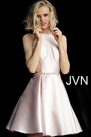 Jvn Royal Fit and Flare Crystal Embellished Belt Homecoming Dress JVN63717